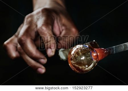 Work of Glass Blower - Glassblower Makes the Sphere