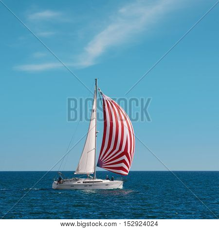 VARNA BULGARIA - September 30 2016: Yacht Nimana in Regatta Pro-Am Race along the Bulgarian Black Sea Coast
