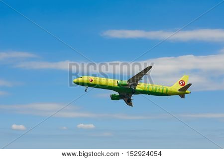 VARNA BULGARIA - OCTOBER 04 2016: The Aircraft of S7 Airlines is Landing at Varna Airport