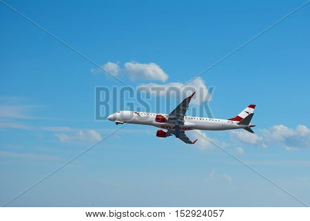 VARNA BULGARIA - OCTOBER 04 2016: The Aircraft of Austrian Airlines is Landing at Varna Airport