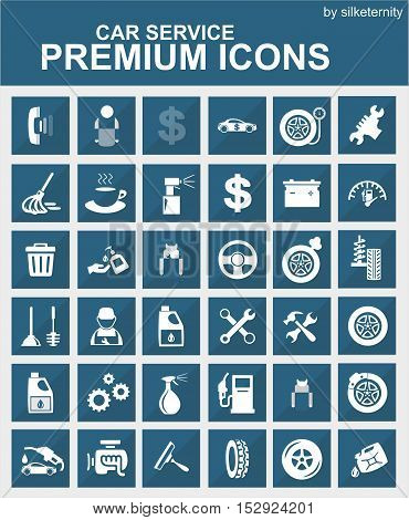 Car icon set wash automobile grey background