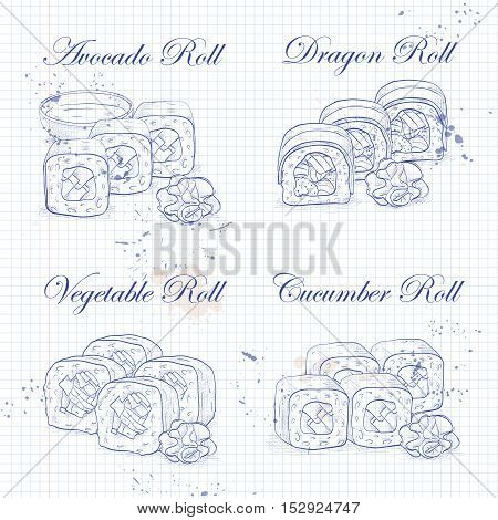 Vector sushi roll sketch, set of four types of rolls on a notebook page