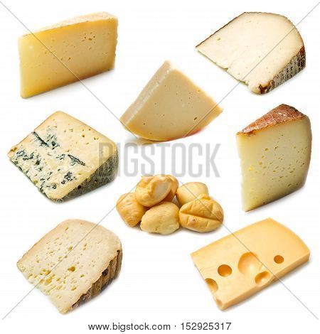 collage of ripe cheese isolated on white