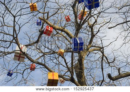 New Year without snow. Decoration of a tree gifts.