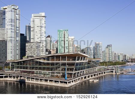 The view of Vancouver skyscrapers in early morning (British Columbia).
