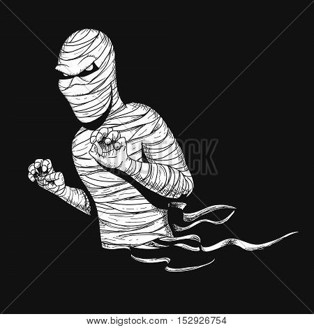 Awful mummy like a ghost.Hand drawn vector illustration