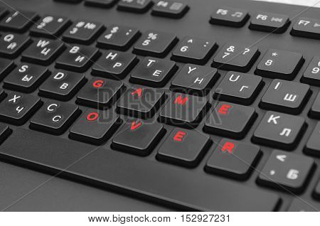 computer keyboard and composed on it the word