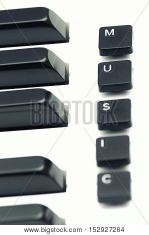 piano keyboard and computer keys with words