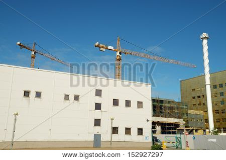 Construction of industrial buildings in the city.