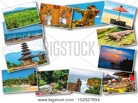 Set of images with views of Bali island Indonesia