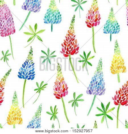 Floral seamless pattern.Colorful lupines flowers.Watercolor hand drawn illustration.