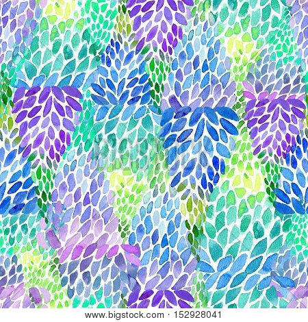Floral seamless abstract pattern.Turquoise,violet and blue lupines flowers.Watercolor hand drawn illustration.