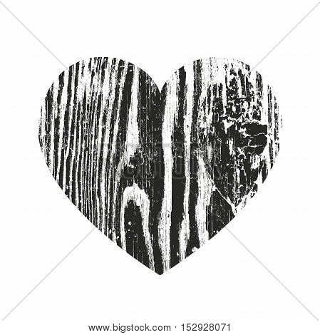 Grunge heart silhouette vector illustration. Wooden Stamp Texture .