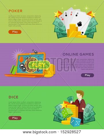 Set of gambling vector banners. Flat style. Poker, online games, dice horizontal conceptual illustrations with cards, roulette, money for virtual gamble and entertainments services web page design