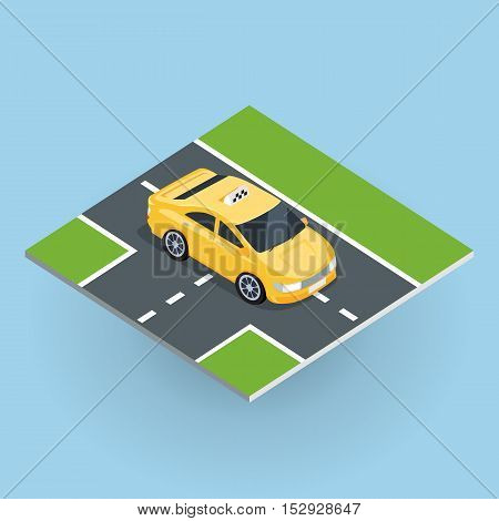 Flat 3d isometric car taxi on isometric part of road . City service transport icon. Car taxi icon. Isometric part of the city infrastructure. Isometric taxi cab. Isometric yellow taxi. Yellow taxi cab