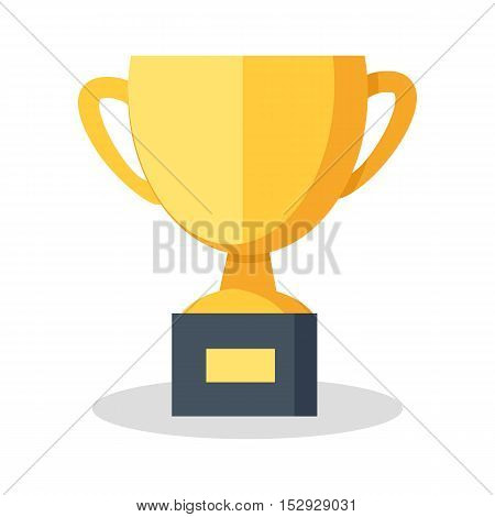 Cup vector illustration in flat style. Goblet picture for success, victory, reward conceptual banners, web, app, icons, infographics, logotype design. Isolated on white background.