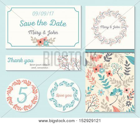Set of templates for wedding, celebration.Invitation card with abstract floral background. Vector illustration