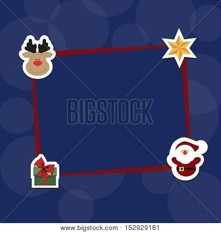 Christmas blue background with a red frame with decorative red Christmas stickers. Pattern to decorate greetings cards or decoration of an album page or scrapbook. Baby vector illustration