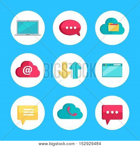 Flat icons for web and mobile applications. Laptop, speech bubble, cloud storage, mail, data exchange, player, notification, online conference, email letter. Internet signs symbols. Vector flat style