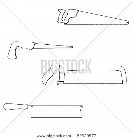 Set of different kinds of saws back saw, compass saw, hacksaw, handsaw , outline. Illustration for web or typography magazine, brochure, flyer, poster , monochrome, EPS 10