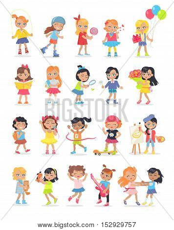 Set of girls having leisure time. School girls during break. Group of kids having fun together. Young ladies at the playground, going in for sport, drawing, playing, walking. Daily activities. Vector