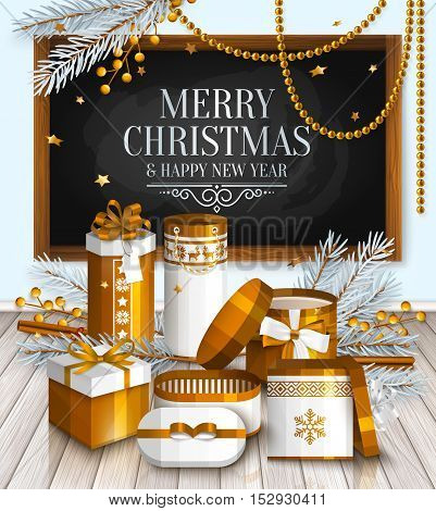 Merry Christmas card. Pile of white and golden wrapped gift boxes, fir branches and yellow berries. Wishing on chalkboard, blackboard.