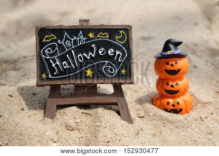 jack-o-lantern on the sea in halloween decoration