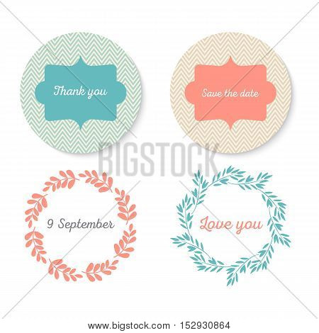 Frame Collection. Set of cute flowers arranged a shape of the wreath perfect for wedding invitations and birthday cards. Vector illustration
