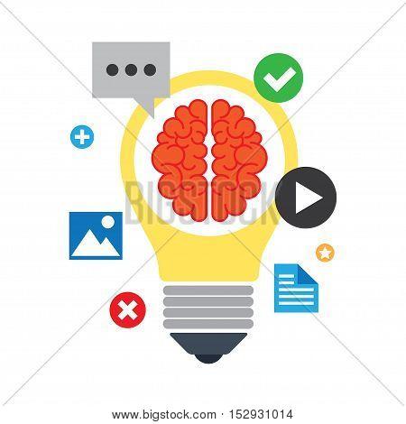 Concept of search engine optimization creative process application development brainstorm. Vector