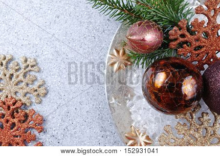 Christmas fir on shiny mirrored abstract Christmas New Year background