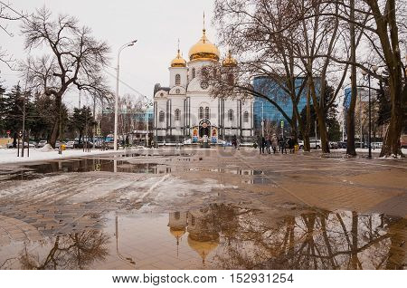 KRASNODAR RUSSIA - JANUARY 7 2016: View of the Alexander Nevsky Cathedral - the main orthodox church in the city of Krasnodar Russia.