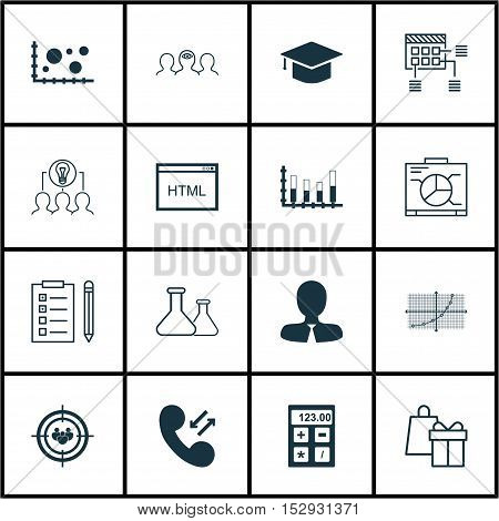 Set Of 16 Universal Editable Icons For Project Management, Human Resources And Education Topics. Inc