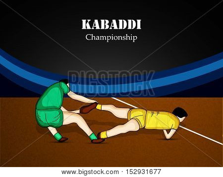 Illustration of players of two team playing kabaddi match