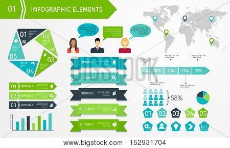 Set of business infographic elements. Template for presentation, chart, graph. Vector illustration