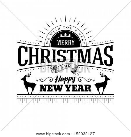 Vector Merry Christmas and Happy New Year typographic design.