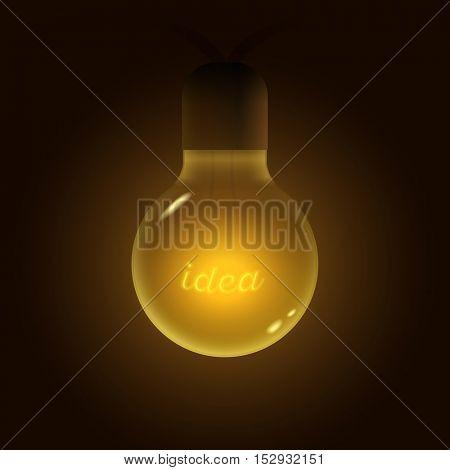 Vector illustration of old lightbulb. Idea word on filament. Idea concept vector illustration.
