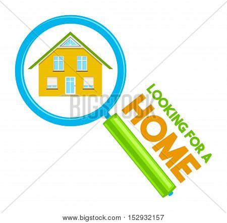 Colorful real estate logo, sticker or emblem with a house in a looking glass and slogan Looking for a home isolated
