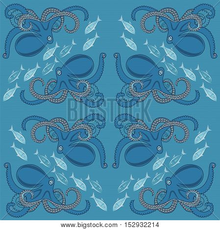 blue background with ornament of octopus and fish vector illustration seamless pattern