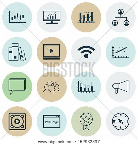 Set Of 16 Universal Editable Icons For Statistics, Marketing And Computer Hardware Topics. Includes