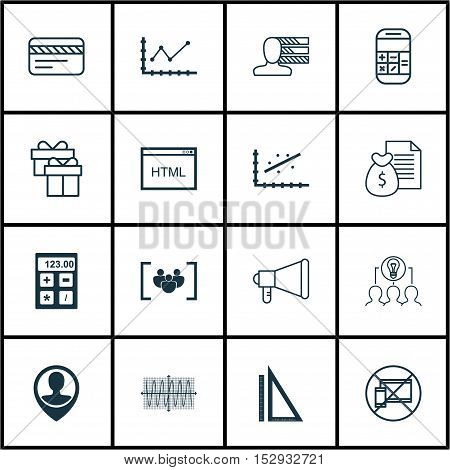Set Of 16 Universal Editable Icons For Marketing, Business Management And Education Topics. Includes