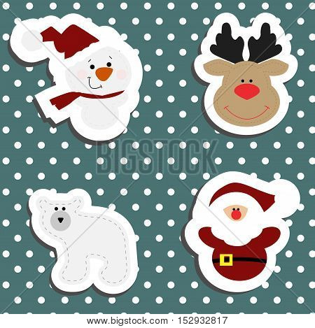 Set a festive children's Christmas stickers. New year collection of label templates and decals for decorating greeting or gift. There's a snowman Santa Claus polar bear and deer head Rudolph. Baby vector illustration.
