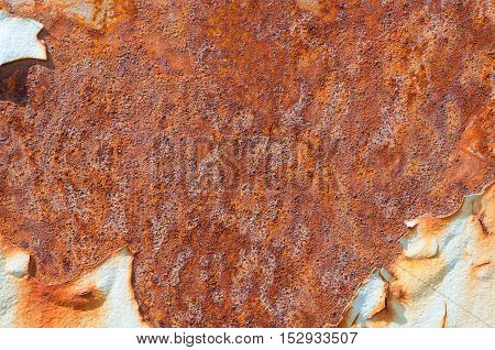 Rusted metallic surface with flaky paint background