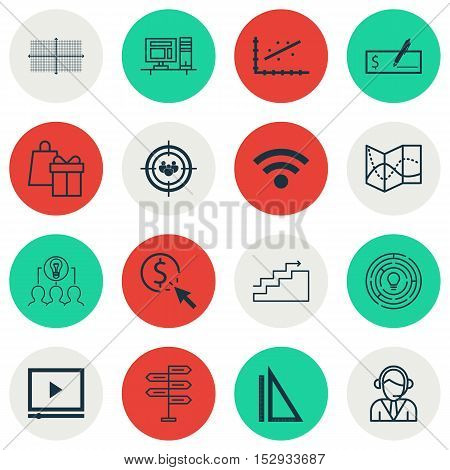 Set Of 16 Universal Editable Icons For Statistics, Computer Hardware And Traveling Topics. Includes