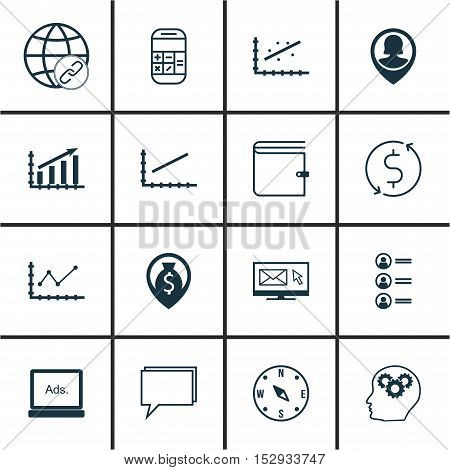 Set Of 16 Universal Editable Icons For Management, Travel And Human Resources Topics. Includes Icons