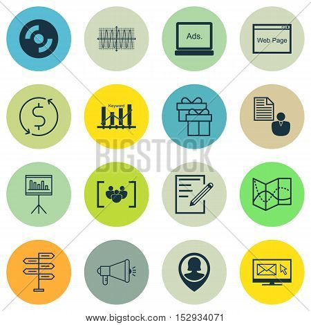 Set Of 16 Universal Editable Icons For Statistics, Computer Hardware And Transportation Topics. Incl