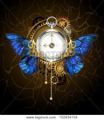 Round the clock in the style of steampunk with blue butterfly wings morpho with dial with gold Roman numerals decorated with gold silver and brass gears on a dark background. Steampunk style.