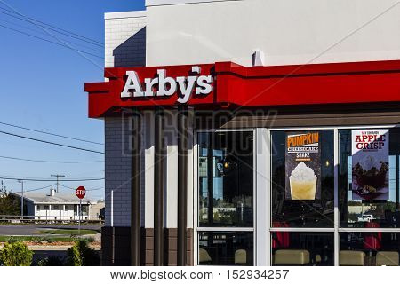 Indianapolis - Circa October 2016: Arby's Retail Fast Food Location. Arby's operates over 3300 restaurants II