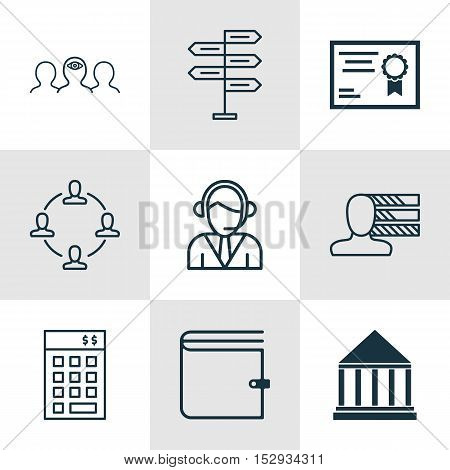 Set Of 9 Universal Editable Icons For Business Management, Management And Education Topics. Includes