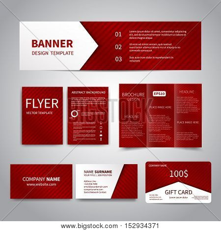 Banner, flyers, brochure, business cards, gift card design templates set with red festive background with. Corporate Identity set, Advertising flyers, banner, cards, promotion printing