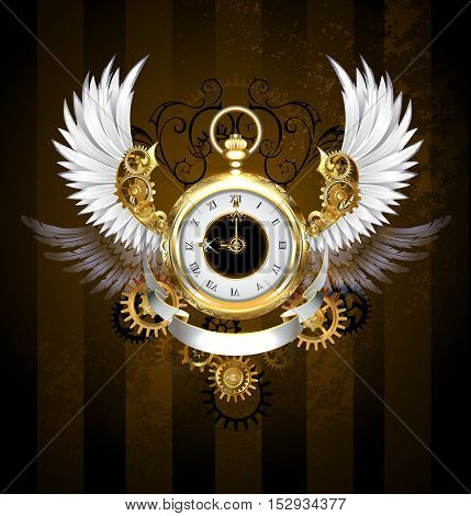 Gold jewelry watches with a white dial and black numerals decorated with white plumage mechanical wings with gold and bronze gears on a dark brown striped background. Steampunk style. Gold and brass gears.